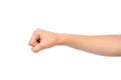 Woman hand fist. Isolated on a white background Royalty Free Stock Image