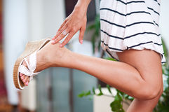 Woman hand and foot Royalty Free Stock Image