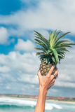 Woman hand with fresh exotic pineapple fruit on the ocean background. Fresh healthy diet food concept. Bali island. Royalty Free Stock Images
