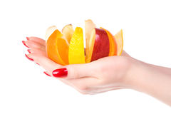 Woman hand with fruit mix Stock Photo