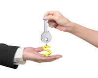 Woman hand giving key dollar sign keyring to man hand Royalty Free Stock Photo