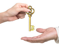 Woman hand giving pound sign treasure key to man hand. Woman hand giving golden treasure key in pound sign shape to man hand, isolated on white background stock photos