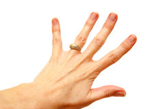 Woman hand with gold ring Royalty Free Stock Photos