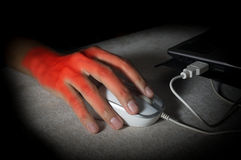 Woman hand got pain from using mouse. Stock Images