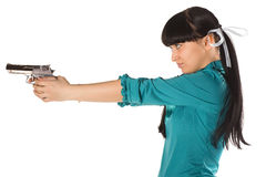 Woman With Hand Gun Stock Photography