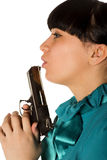 Woman With Hand Gun Royalty Free Stock Photo