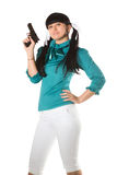 Woman With Hand Gun Stock Image