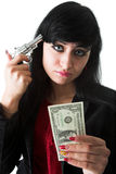 Woman With Hand Gun Stock Photo