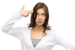 Woman hand gun gesturing. Portrait of woman hand gun gesturing, isolated on white Stock Photos