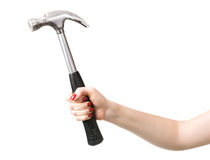 Woman hand with hammer Royalty Free Stock Image