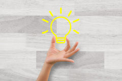 Woman hand handle idea icon Stock Photo
