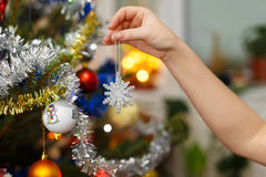 Woman hand hanging christmas decoration Royalty Free Stock Image