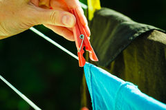 Woman hand hanging wet clothes on rope line Royalty Free Stock Images