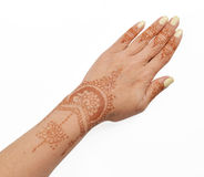 Woman hand with henna mehendi Stock Photos