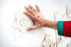 Woman hand in henna painting in India Stock Image