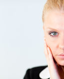 Woman with hand on her face Royalty Free Stock Photo