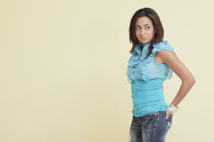 Woman with hand in her pocket Royalty Free Stock Photography