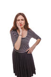 Woman hand on his cheek toothache isolated white Stock Photos
