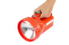 Woman hand hold flashlight Stock Images