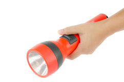 Woman hand hold flashlight Stock Photo