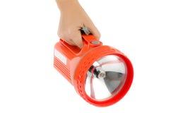 Woman hand hold flashlight Royalty Free Stock Photography