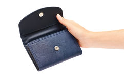 Woman hand hold leather wallet isolated on white background Royalty Free Stock Photography