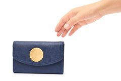 Woman hand hold leather wallet isolated on white background Royalty Free Stock Image