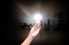 Woman hand hold lighting LED bulb on blurry indoor hall of offic. E backgound Royalty Free Stock Photography