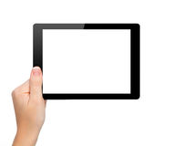 Woman hand hold a mini tablet with isolated screen Stock Image