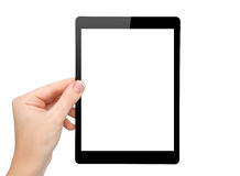 Woman hand hold a mini tablet with isolated screen Royalty Free Stock Photo