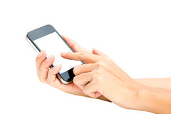 Woman hand hold and touch screen smart phone, tablet,cellphone o Stock Images