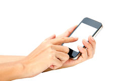 Woman hand hold and touch screen smart phone, tablet,cellphone o Royalty Free Stock Photography
