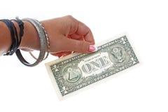 Woman hand holding american money dollar bill on isolated white cutout background. Studio photo with studio lighting. Woman hand holding american money dollar stock image