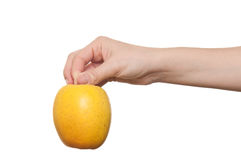 Woman hand holding apple. Over a white background Royalty Free Stock Photography