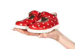 Woman Hand Holding Baby Shoes Stock Images