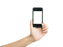 Woman hand holding black smart phone with blank screen Stock Image