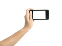 Woman hand holding black smart phone with blank screen Stock Photo