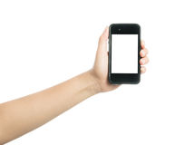 Woman hand holding black smart phone with blank screen Stock Photos