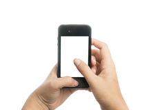 Woman hand holding black smart phone with blank screen Stock Photography