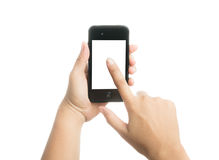 Woman hand holding black smart phone with blank screen Royalty Free Stock Images