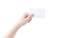 Woman hand holding blank card Royalty Free Stock Photos