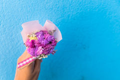 Woman hand holding bouquet of pink flowers stock images