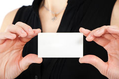 Woman hand holding business card Royalty Free Stock Photo