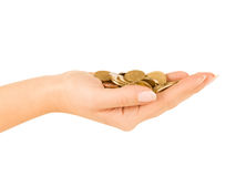 Woman hand  holding coin Royalty Free Stock Photo