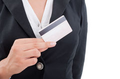 Woman hand holding a credit card Stock Photos
