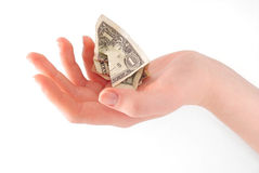 Woman hand holding crumpled dollar. Woman hand holding crumpled cash Stock Photos