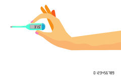 Woman Hand Holding Digital Thermometer. Vector Woman Hand Holding Digital Thermometer Stock Images