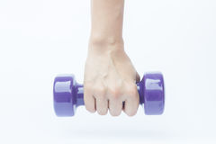 Woman hand holding dumbbell weight  on white background Royalty Free Stock Photo