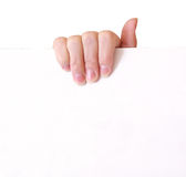Woman hand holding empty paper Stock Photo
