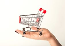 Woman hand holding empty shopping cart. Isolated on white background, side view. Advertising of food products and clothing. Shopping concept Royalty Free Stock Images